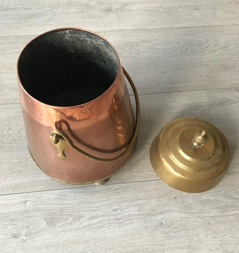 Antique Stylish Copper and Brass Coal Kettle, Fire Extinguisher Fire Place Decor For Sale 5