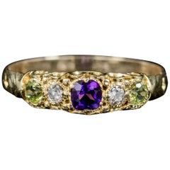 Antique Suffragette Amethyst Diamond Peridot Ring Victorian, circa 1900