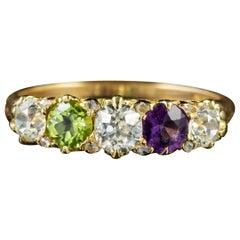Antique Suffragette Amethyst Peridot Diamond Ring 18 Carat Gold, circa 1905