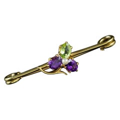 Antique Suffragette Clover Brooch 18 Carat Gold Pin Edwardian, circa 1910