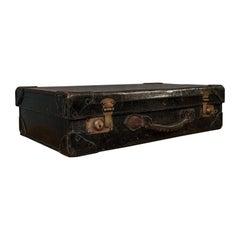 Antique Suitcase, English, Leather, Travel, Salesman, Officer, Case, Edwardian