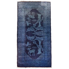 Antique Suiyuan Chinese Blue Chinese Export, Hand Knotted Wool, circa 1940
