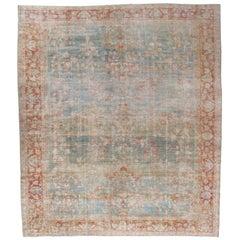Antique Sultanabad Carpet, Handmade Oriental Rug, Soft, Pale Blue, Orange