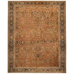 Antique Sultanabad Geometric Orange and Beige Wool Persian Rug