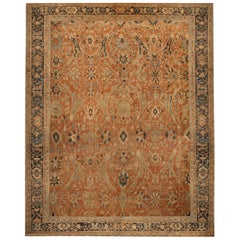 Antique Sultanabad Geometric Orange and Beige Wool Persian Rug