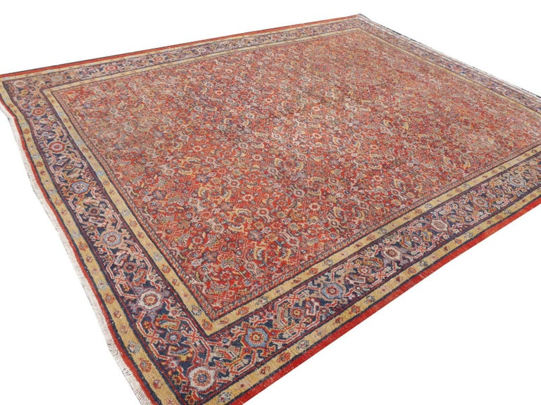 Antique Sultanabad Mahal Persian Distressed Industrial Style Rug For Sale 6