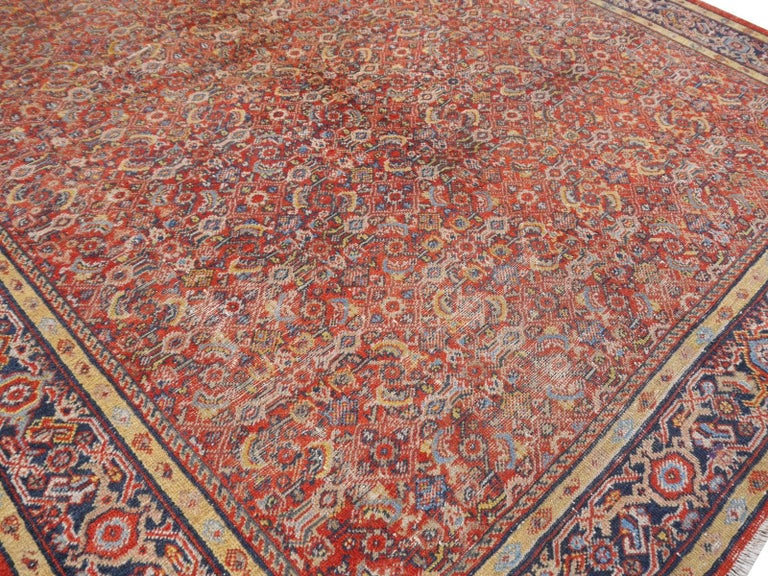 20th Century Antique Sultanabad Mahal Persian Distressed Industrial Style Rug For Sale