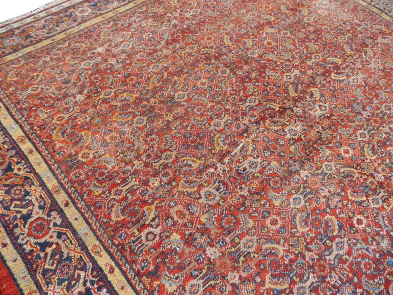 Wool Antique Sultanabad Mahal Persian Distressed Industrial Style Rug For Sale
