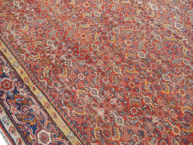 Antique Sultanabad Mahal Persian Distressed Industrial Style Rug For Sale 1