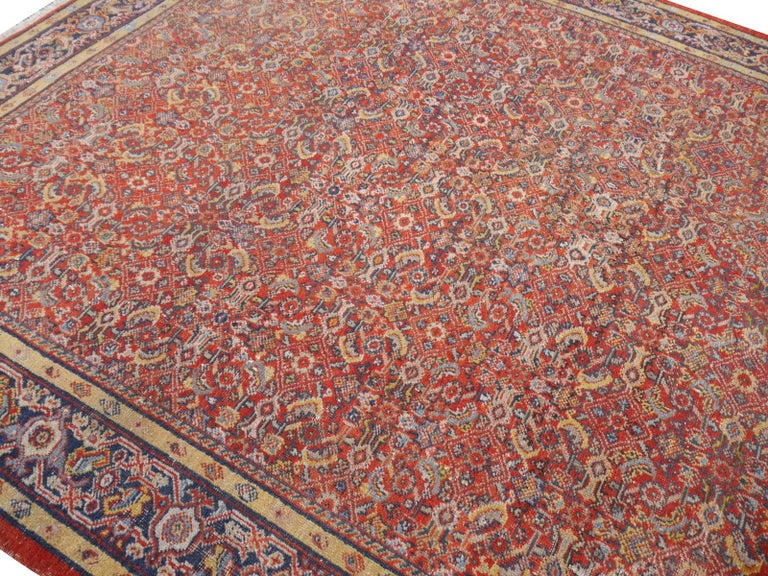 Antique Sultanabad Mahal Persian Distressed Industrial Style Rug For Sale 2