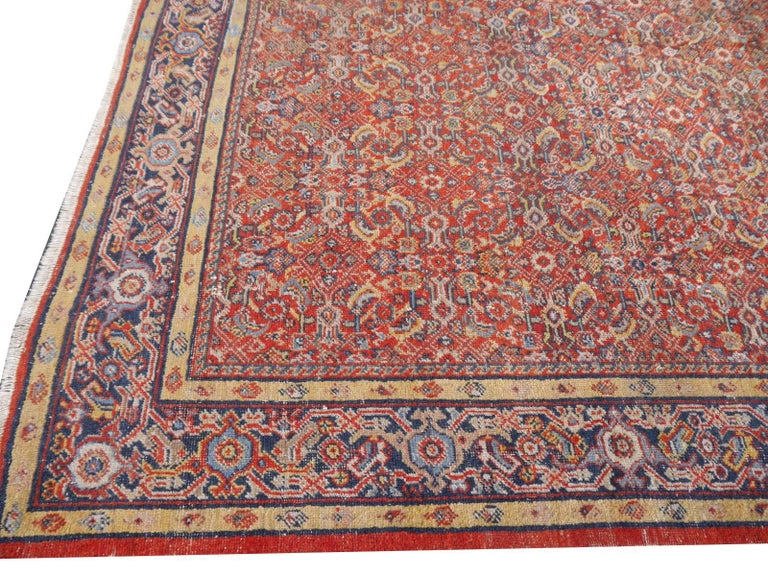 Antique Sultanabad Mahal Persian Distressed Industrial Style Rug For Sale 3