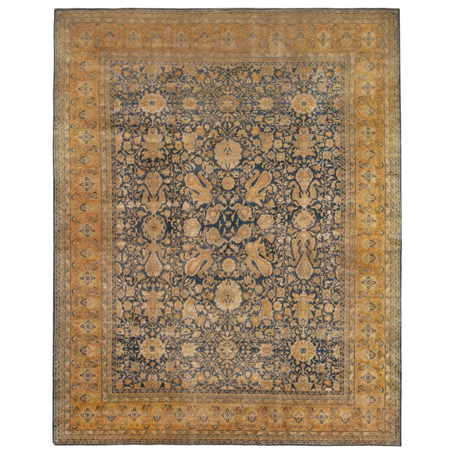 Antique Sultanabad Navy Blue and Gold Wool Persian Rug Floral Pattern