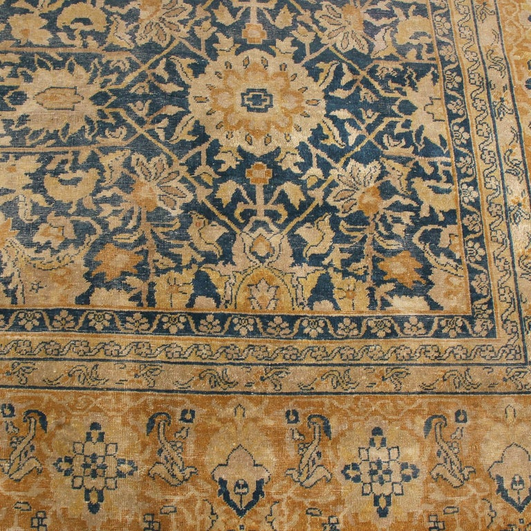 Hand-Knotted Antique Sultanabad Navy Blue and Gold Wool Persian Rug