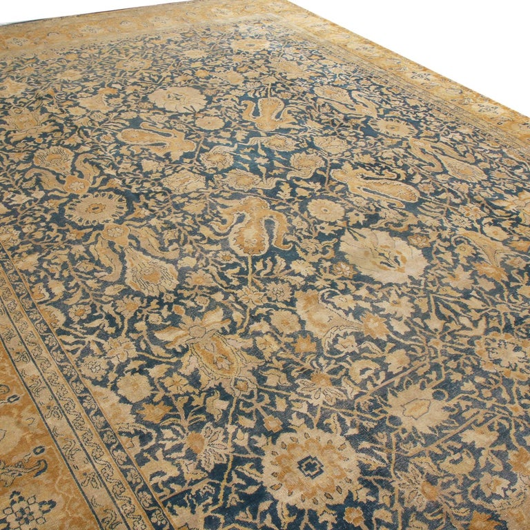 Antique Sultanabad Navy Blue and Gold Wool Persian Rug In Good Condition In Long Island City, NY