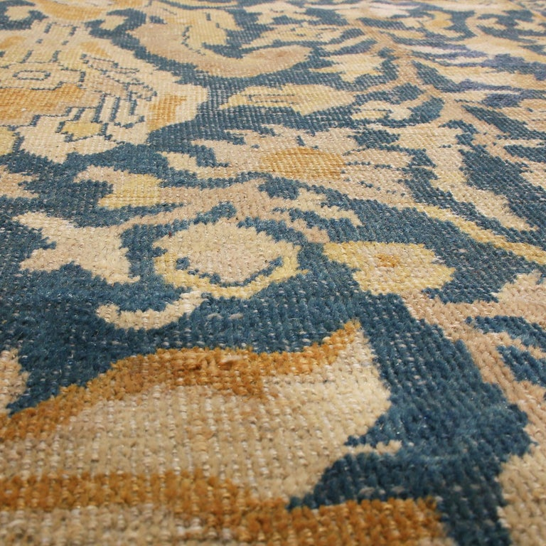 Late 19th Century Antique Sultanabad Navy Blue and Gold Wool Persian Rug