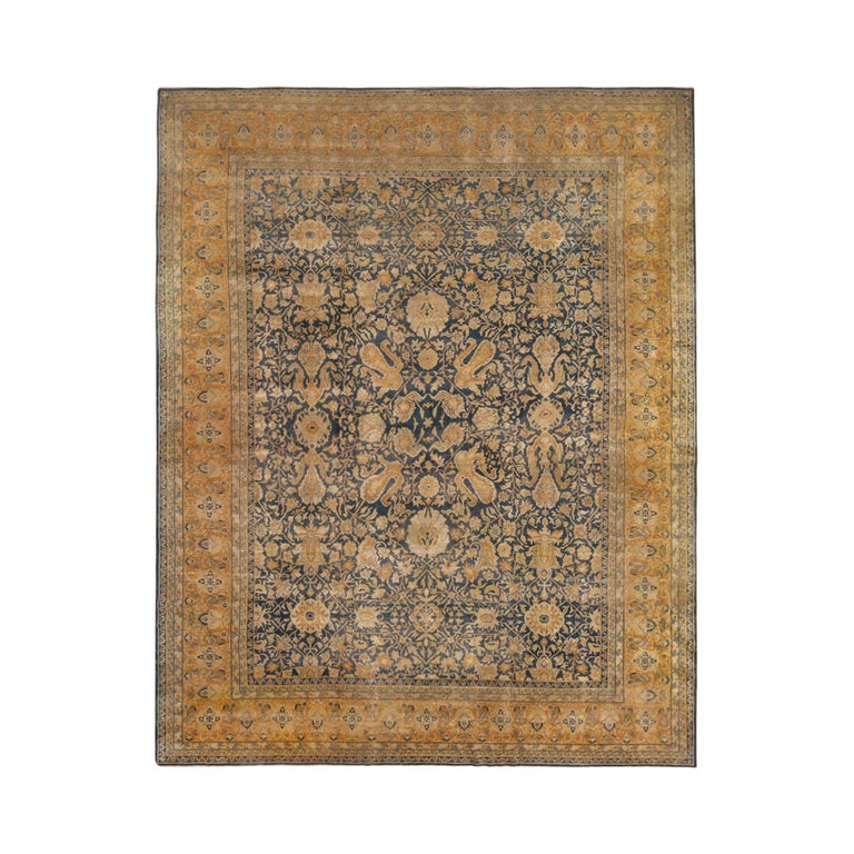 Antique Sultanabad Navy Blue and Gold Wool Persian Rug