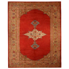 Antique Sultanabad Red and Blue Wool