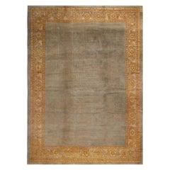Antique Sultanabad Traditional Blue and Gray Wool Persian Rug