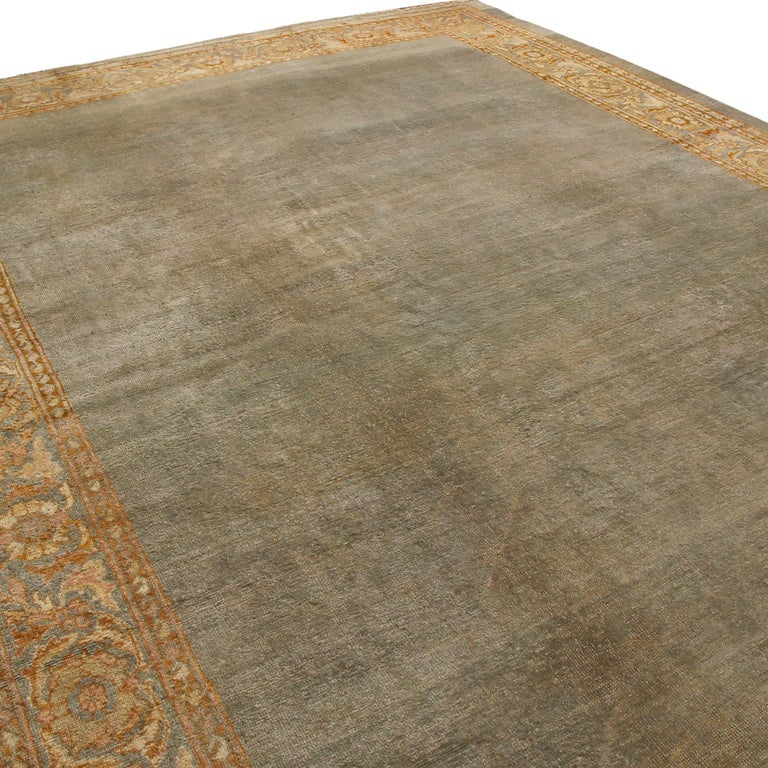 Hand-Knotted Antique Sultanabad Traditional Blue-Gray Wool Persian Rug