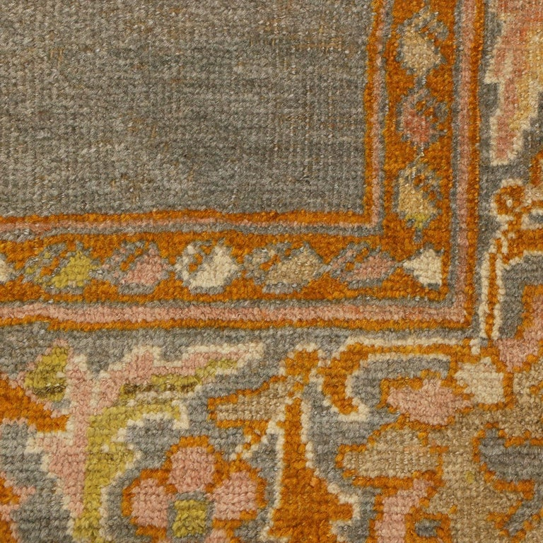 Late 19th Century Antique Sultanabad Traditional Blue-Gray Wool Persian Rug