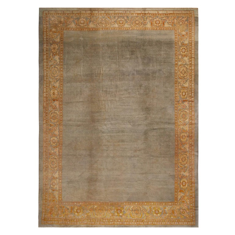 Antique Sultanabad Traditional Blue-Gray Wool Persian Rug