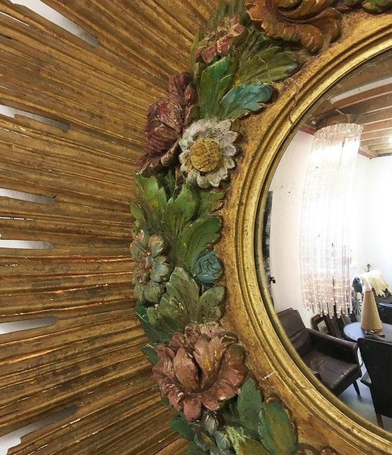 Antique Sunburst Starburst Giltwood French Convex Gilded Carved Barbola Mirror For Sale 1