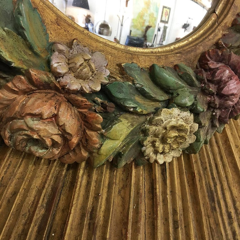 Antique Sunburst Starburst Giltwood French Convex Gilded Carved Barbola Mirror For Sale 2