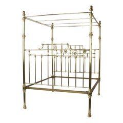Antique Super Queen Size English Brass Bed