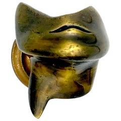 Antique Surrealist Sculpture Door Handle Brass Belgium