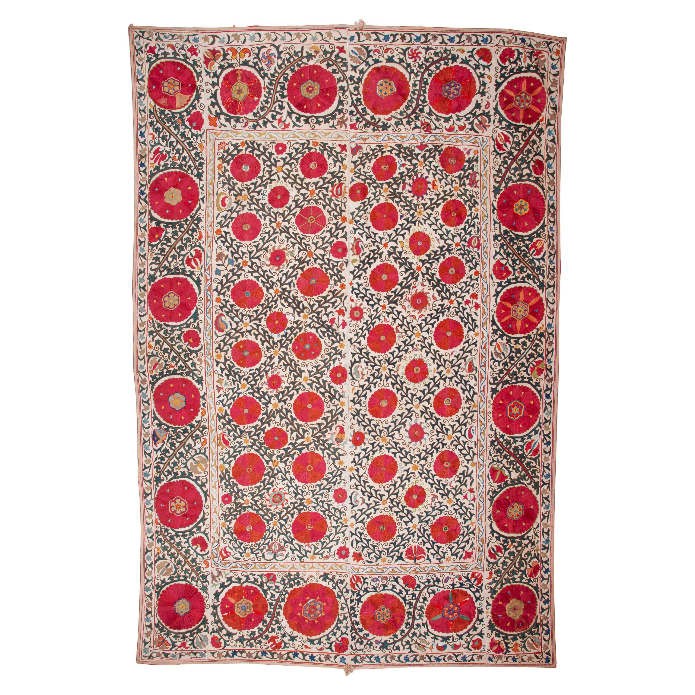 Antique Suzani from Bukhara Silk Embroidery on Cotton, Uzbekistan, 19th Century