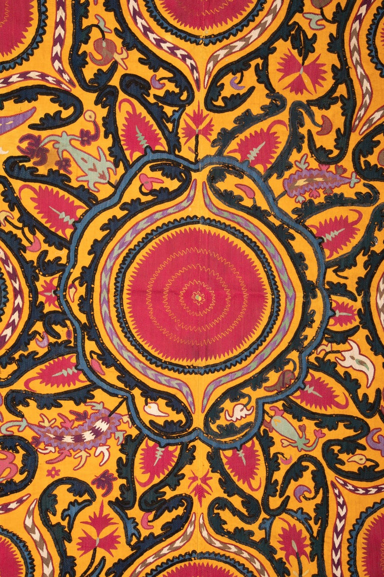 A rather good example of the group of suzanis from Djizak, Uzbekistan. Finely embroidered in silk on a cotton background.