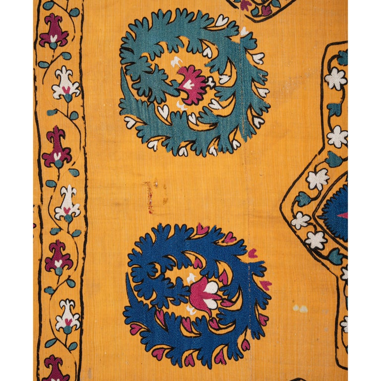 Embroidered Antique Suzani from Tashkent Uzbekistan, Late 19th Century For Sale