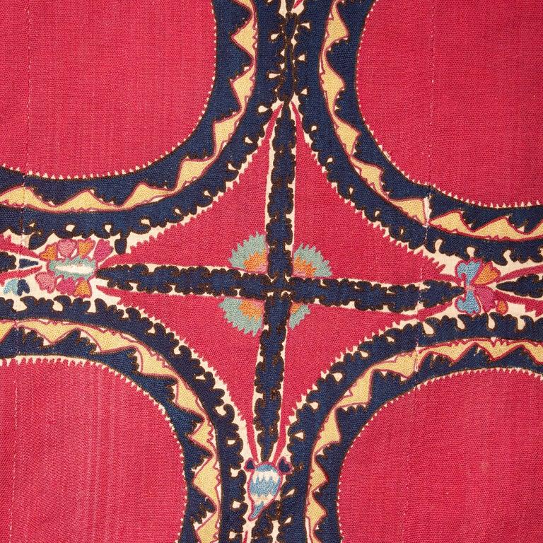 Silk Antique Suzani from Tashkent, Uzbekistan, Late 19th Century For Sale