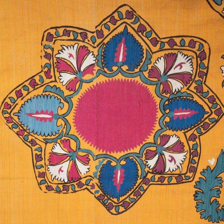 Silk Antique Suzani from Tashkent Uzbekistan, Late 19th Century For Sale