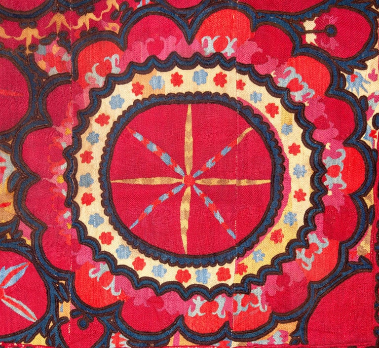 Embroidered Antique Suzani from Uzbekistan, Central Asia 19th Century For Sale