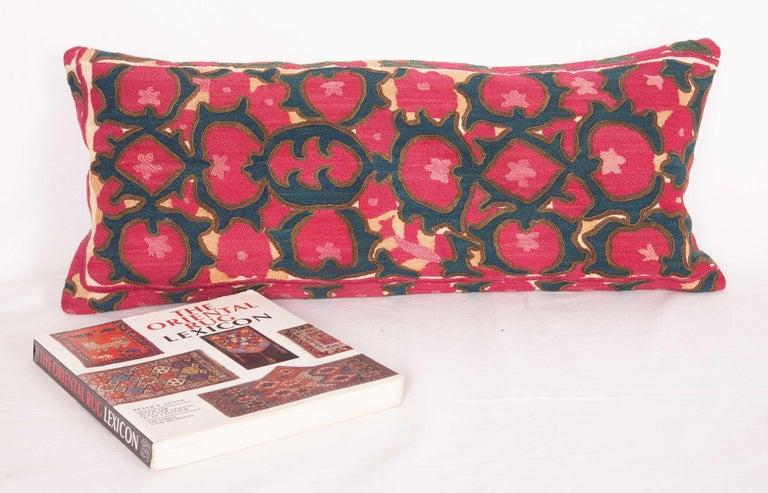 Tajikistani Antique Suzani Lumbar Fashioned from a Tajik Ura Tube suzani, Late 19th Century
