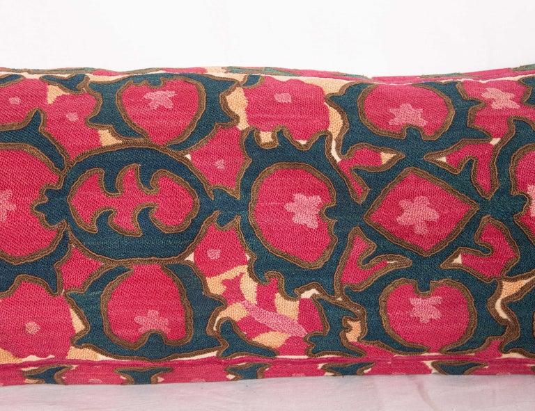 Antique Suzani Lumbar Fashioned from a Tajik Ura Tube suzani, Late 19th Century In Good Condition In Istanbul, TR
