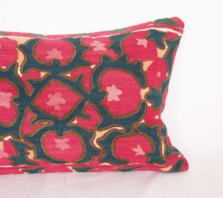 Silk Antique Suzani Lumbar Fashioned from a Tajik Ura Tube suzani, Late 19th Century
