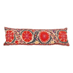 Antique Suzani Lumbar Pillow Made from a Mid-19th Century Nurata Suzani