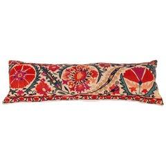 Antique Suzani Lumbar Pillow Made from a Mid-19th Century Nurata Suzani