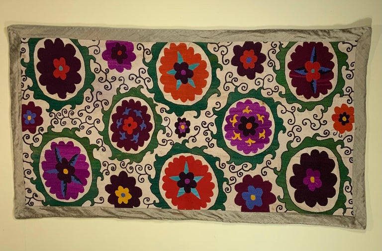 Uzbek Antique Suzani Panel Wall Hanging For Sale