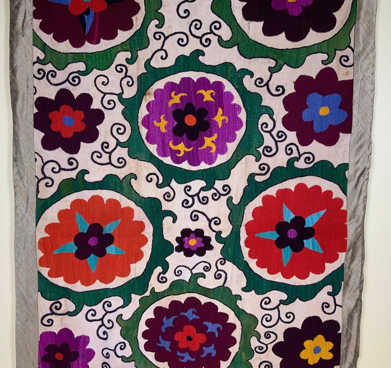 19th Century Antique Suzani Panel Wall Hanging For Sale