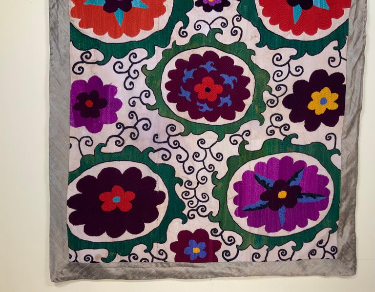 Wool Antique Suzani Panel Wall Hanging For Sale