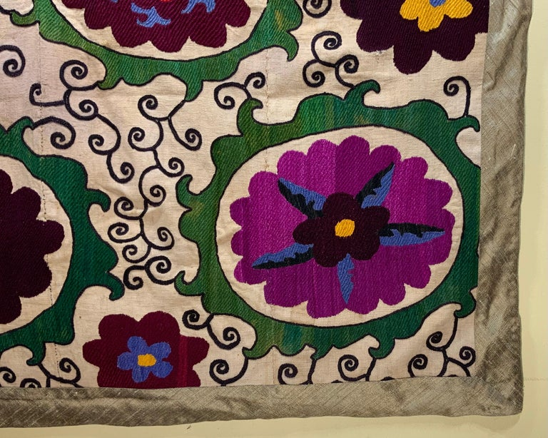 Antique Suzani Panel Wall Hanging For Sale 2