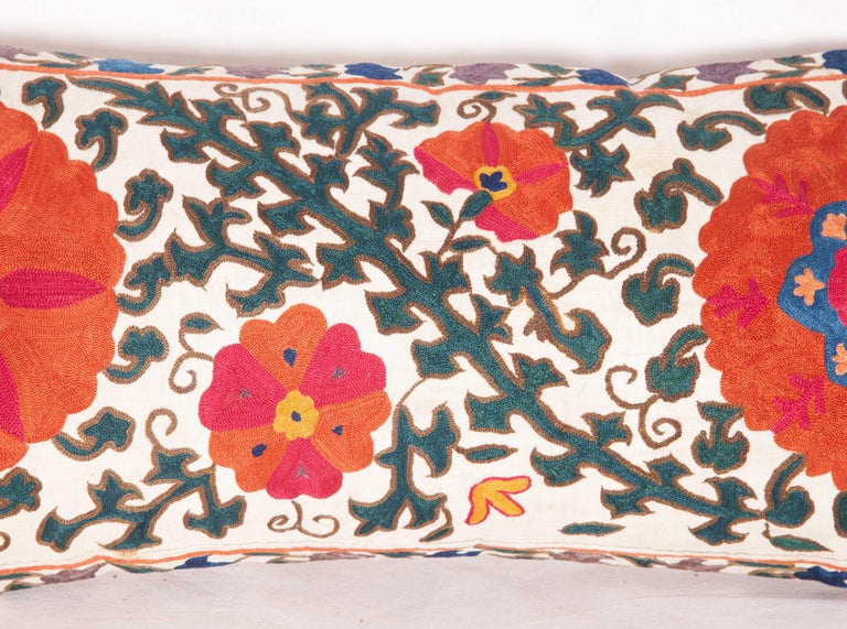 Embroidered Antique Suzani Pillow Case Fashioned from a 19th Century Suzani from Uzbekistan For Sale