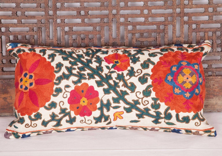 Antique Suzani Pillow Case Fashioned from a 19th Century Suzani from Uzbekistan For Sale 2