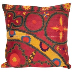 Antique Suzani Pillow Case Fashioned from a Late 19th Century Pishkent Suzani