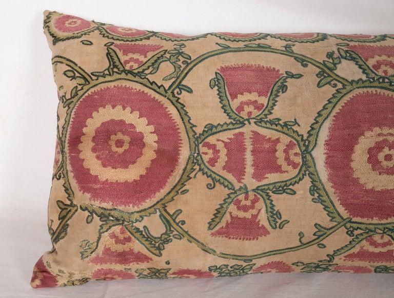 Tajikistani Antique Suzani Pillow Case Fashioned from a Mid-19th Century, Ura Tube Suzani For Sale