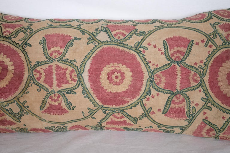 Embroidered Antique Suzani Pillow Case Fashioned from a Mid-19th Century, Ura Tube Suzani For Sale