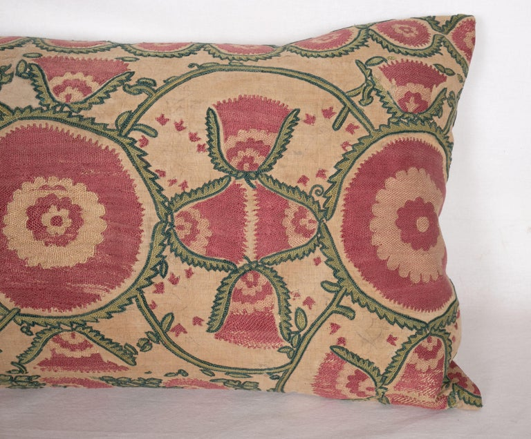 Antique Suzani Pillow Case Fashioned from a Mid-19th Century, Ura Tube Suzani In Fair Condition For Sale In Istanbul, TR